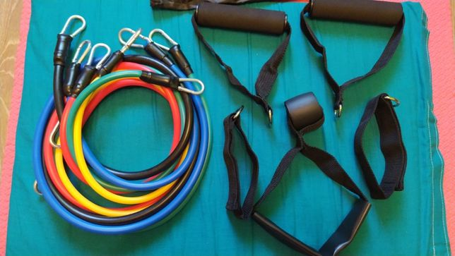 Эспандер (еспандер) трубчатый набор 5 штук для фитнеса