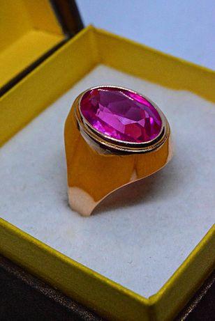 Ładny Złoty Pierścionek z Różowym Topazem 585!!