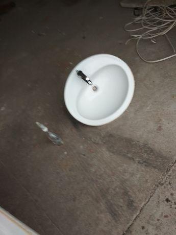 Umywalka wpuszczana w blat + bateria + syfon