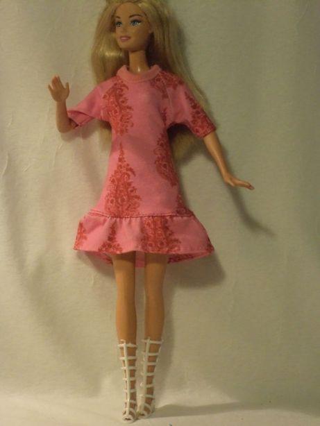 Ubranka dla lalki barbie - różowa sukienka i kozaczki !!!