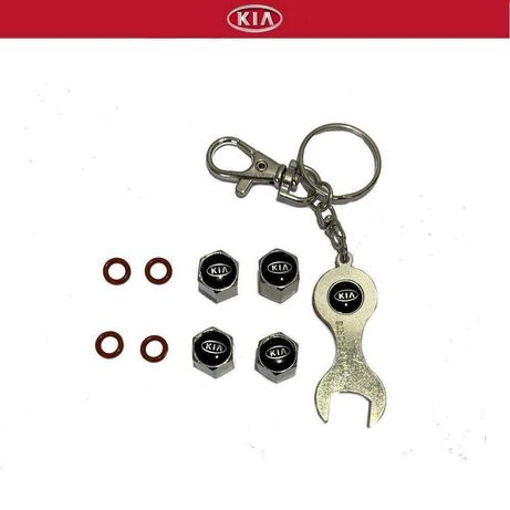 4 Tampas de valvula KIA+ Porta Chaves + Chave