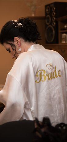 Szlafrok z napisem złotym Bride