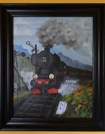 obraz olejny - lokomotywa