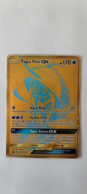 Gold Full Art Tapu Fini GX - Oryginalna karta Pokemon Hidden Fates