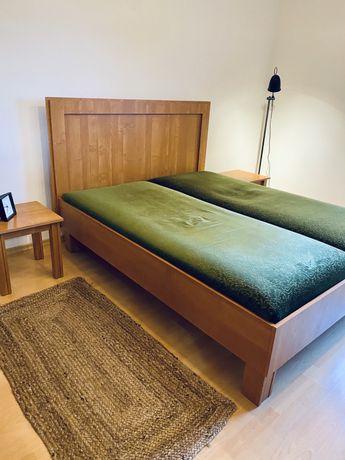 Łóżko sypialniane + stoliczki + fronty szafy