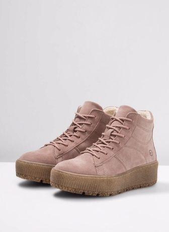 Tamaris zimowe buty sneakersy trapery skóra naturalna pudrowy róż 39
