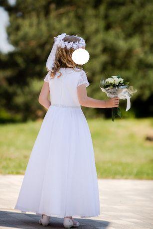 Sukienka komunijna, bolerko, wianek i buty
