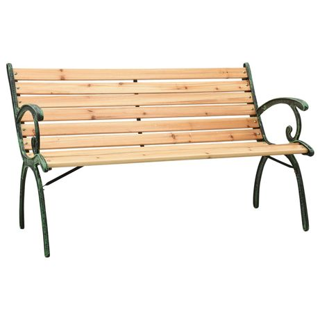 vidaXL Banco de jardim 123 cm ferro fundido e madeira de abeto maciça 312032
