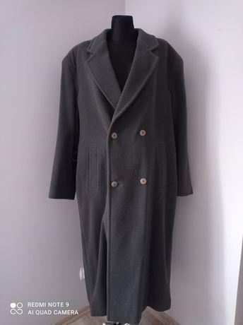 Męski długi duży płaszcz khaki duży rozmiar 5XL z paskiem