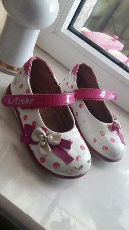 Туфли для девочки в горохи Little Deer, 26 размер, 17,5 см розовые
