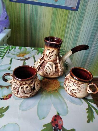 Набір Керамічна турка і 2 чашечки