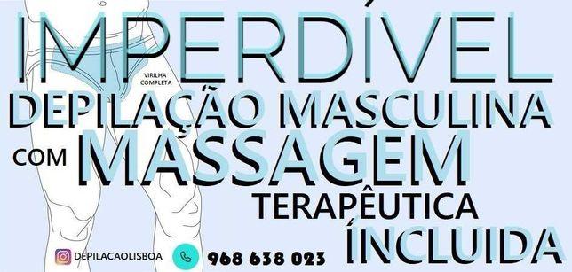Depilação Masculina a Laser ou Máquina com Massagem imperdível