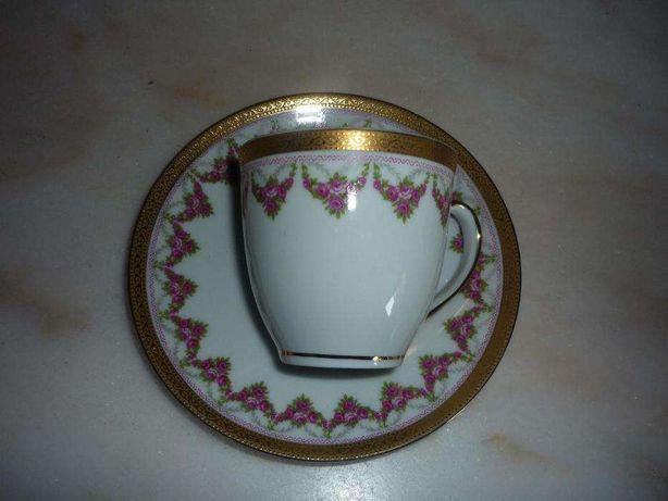 Chavena café porcelana SPAL enrequecida a ouro antiga