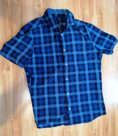 Koszula Reserved M w kratę Niebieska Granatowa
