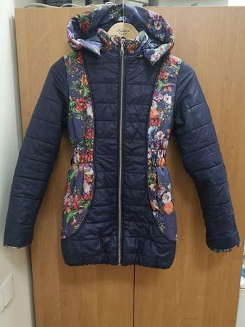 Синяя куртка пальто осенняя весенняя демисезонная 10-12лет