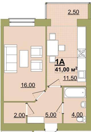 Продається, Онокімнатна квартира, 41м.кв., 2пов.