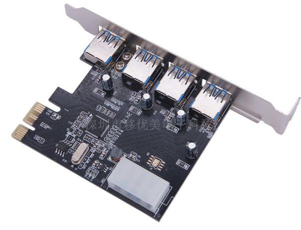 Плата расширения PCI-E на 4 х USB 3.0 с питанием 5 Гбит/с