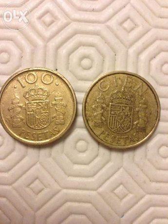 Moedas de 100 pesetas ano 1984 e 1992
