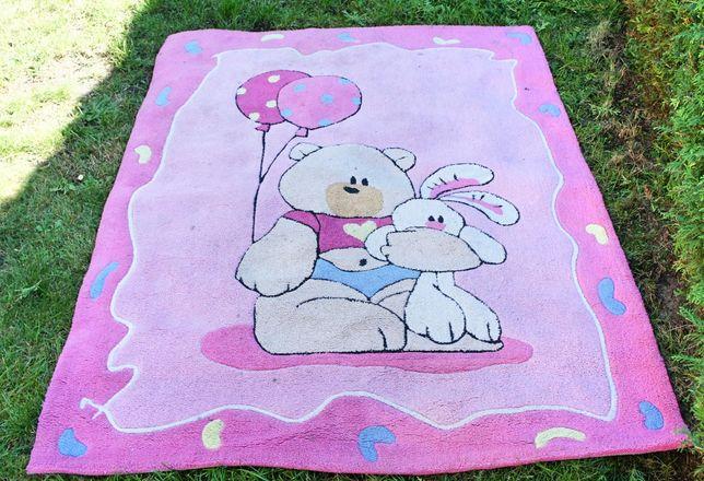 Dywan dziecięcy Teddy Bear 170x120, gruby, kolorowy motyw, dobry stan