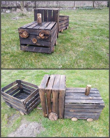 Pociąg drewniany, ogrodowy ozdobny doniczka ciuchcia ozdoba taras