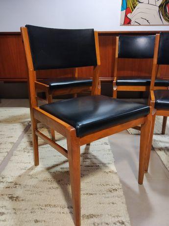 Krzesła duńskie skóra eko Dania lata 60-70 czasy PRL_VINTAGE