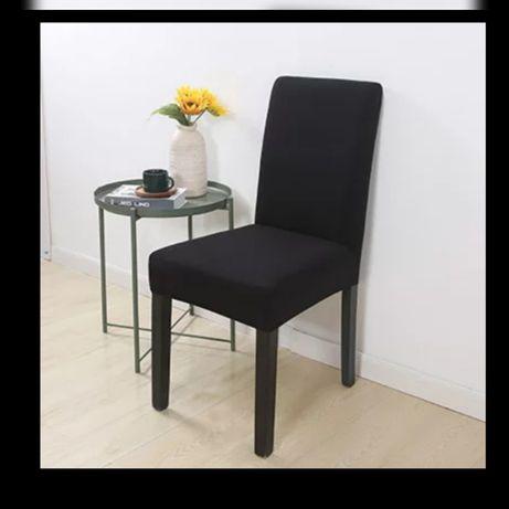 Pokrowce na krzesła 4 sztuki nowe kolor czarny