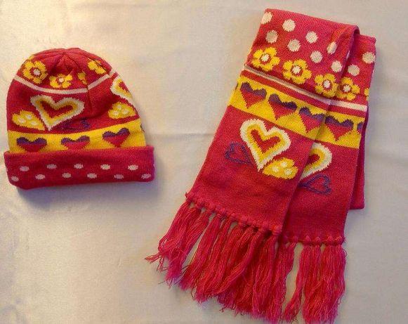NOWY Komplet dziewczęcy na zimę czapka szalik róż 42 cm