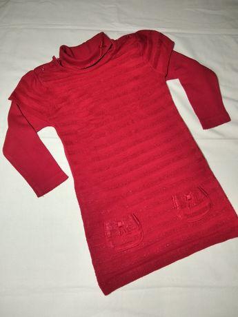 Тёплое платье- туника с водолазкой на девочку 4 - 5 лет. Рост 106 см.