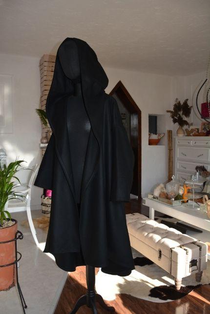 40-56 Czarny płaszcz oversize asymetryczny wełna  XXL