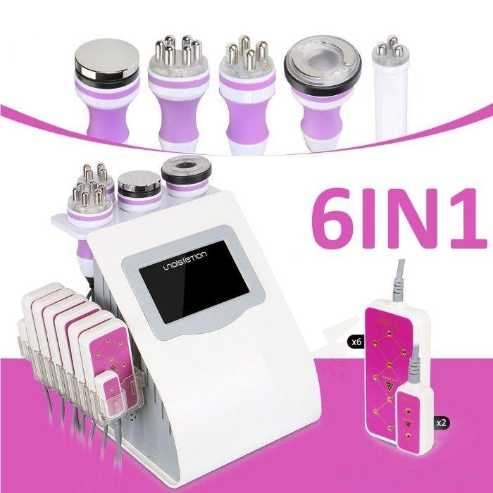 Maquina Cavitação 6 EM 1 LipoLaser + RF 3D + Vacuo + Infravermelho