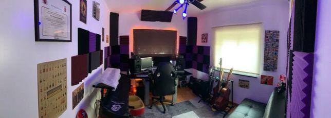 Aulas de produção musical, piano, baixo, guitarra