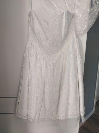 Sukienka biała koronkowa z tiulem
