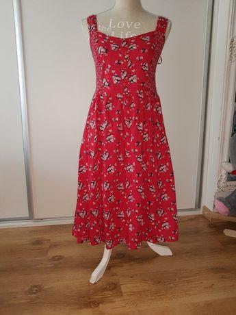 Sukienka 38 suknia czerwona w kwiaty M Boho 40