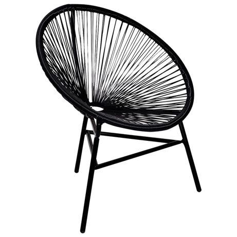 vidaXL Cadeira lua para jardim em vime PE preto 41383