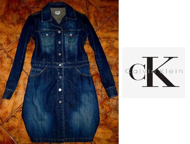 KURTKA płaszczyk Calvin Klein jeans ORYGINAŁ przetarcia r S 36 NOWOŚĆ
