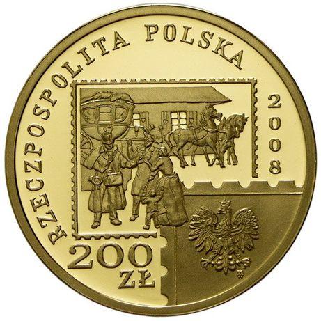 Sprzedam złotą monetę 200zł wydaną na 450 lecie powst. poczty polskiej