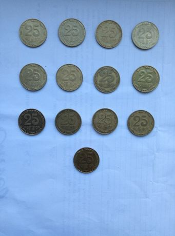 25коп 1992, 1994, 1996, 2006-2015 годов. Набор из 13 монет.