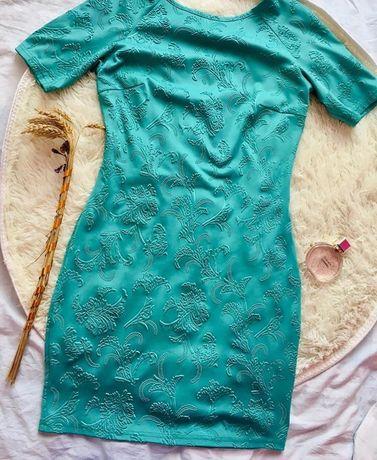 Сукня бірюза, коротний рукав