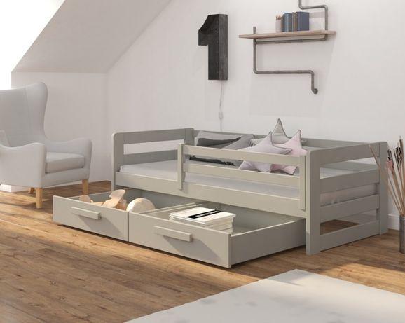 Sosnowe łóżeczko dla dziecka z barierką i szufladami. Dostawa w 7 dni