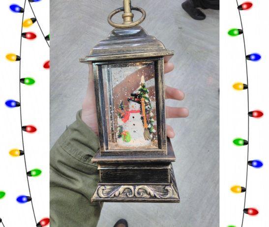 Декоративный новогодний фонарь, светильник, снеговик