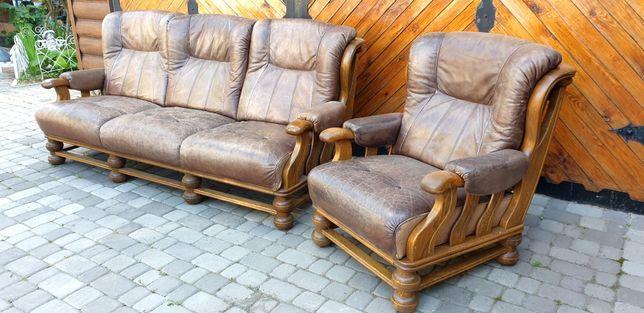 Винтажный дубовый кожаный диван кресло Голландия