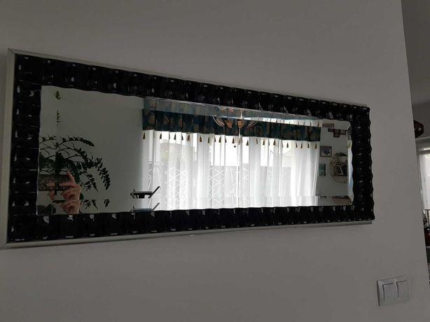 Piękne Czarne Lakierowane Lustro w stylu Glamour Stan BDB 120x40