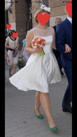 Biała, krótka sukienka z kieszeniami, ślub, cywilny, poprawiny, wesele