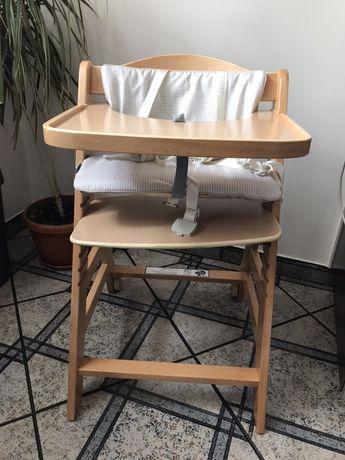 Krzesełko do karmienia dębowe Hauck Beta + jak nowe