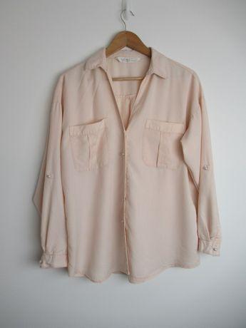 Koszula bluzka Zara pudrowy róż perły perełki M