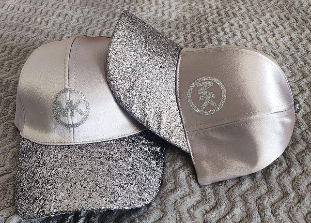 Nowa czapka Michael Kors Mk satynowa góra mieniący się daszek
