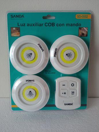 Conjunto 3 Lâmpadas LED Com Comando Remoto
