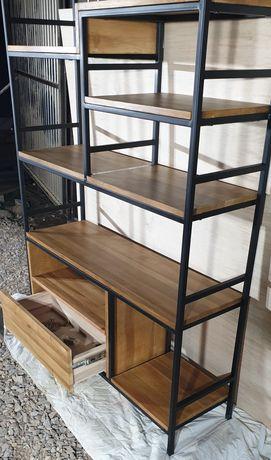 Regał industrialny/loft.Lite drewno.Pojemna szuflada cichy domyk.