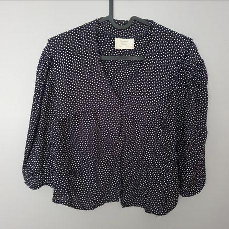 Granatowa koszula retro vintage Charlotte Halton wiskoza kropki grochy