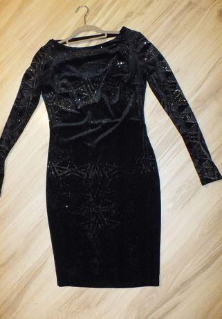 Orsay czarna błyszcząca sukienka welurowa S
